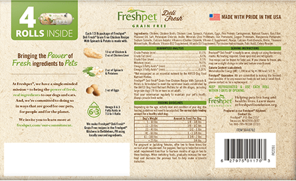 Freshpet Deli Fresh grain free chicken with spinach and potato dog food back of package