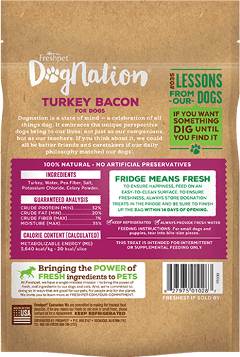 Dognation turkey bacon treats for dogs