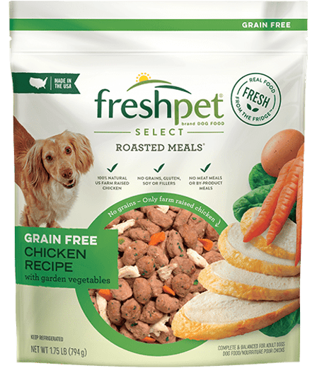 package of freshpet select roasted meals grain free chicken recipe