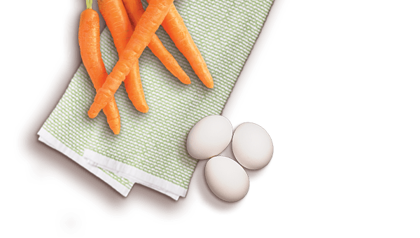carrots, eggs on a napkin