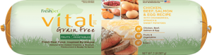 vital chicken beef, salmon, egg roll dog food package