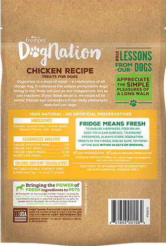 Dognation dog treats chicken recipe back of package