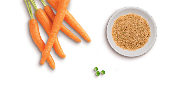 whole carrots, peas, and brown rice in a bowl