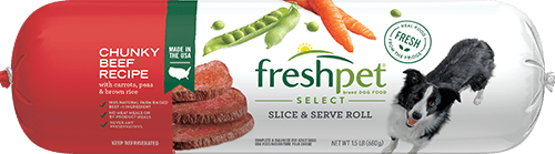 Freshpet Select chunky beef dog food roll front of roll