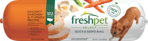 Freshpet Select chunky chicken and turkey dog food roll front of roll