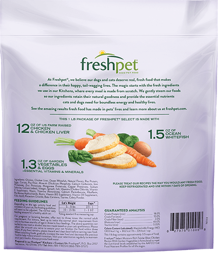 back of freshpet select tender chicken cat food