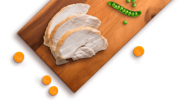 turkey slices, carrot slices, peas