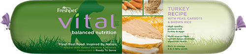 vital balanced nutrition turkey dog food roll