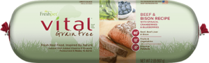 vital grain free beef and bison dog food roll