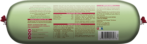 back of vital grain free beef and bison dog food roll