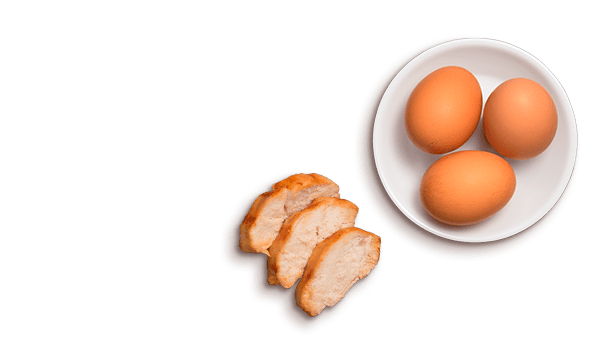 chicken slices, eggs