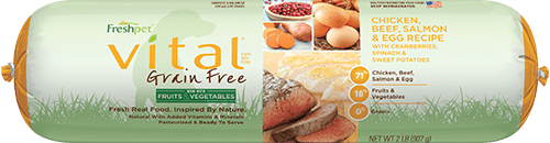 roll of vital grain free chicken, beef, salmon, egg dog food