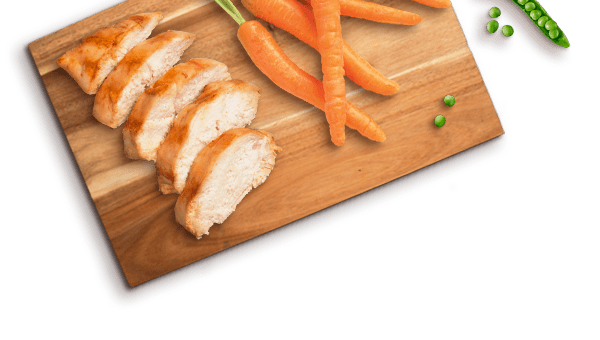 chicken slices, carrot, peas