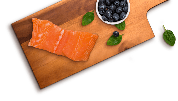 salmon slice, blueberries, spinach