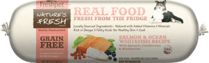 roll of nature's fresh grain free salmon and ocean whitefish dog food