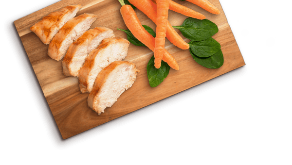 chicken slices, carrot, spinach