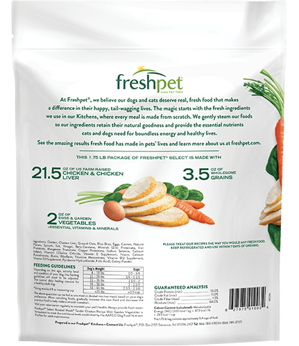 freshpet select tender chicken dog food back of package