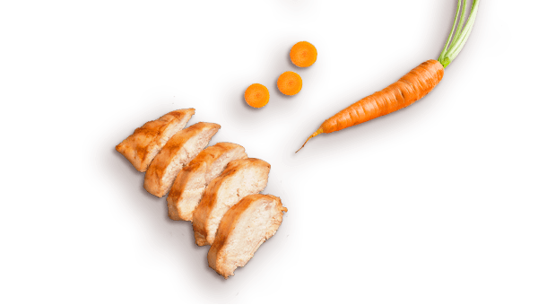 slices of chicken, one whole carrot, three pieces of cut up carrot