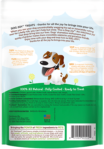 Dog Joy chicken treats for dogs back of package