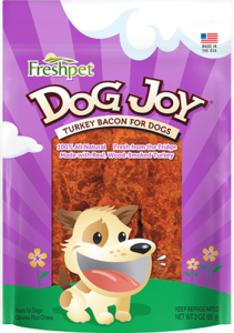 package of freshpet dog joy turkey bacon for dogs dog treats