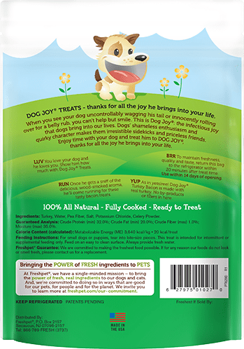 the back of dog joy treats package