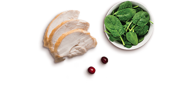 turkey slices, cranberries, spinach leaves