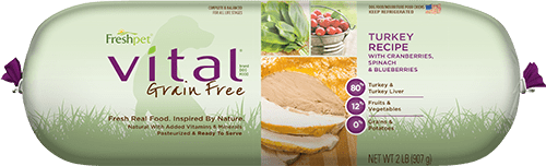 vital grain free turkey dog food roll