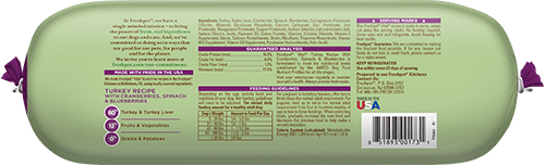 back of vital grain free turkey dog food roll