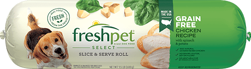 freshpet select grain free chicken recipe dog food roll front of roll