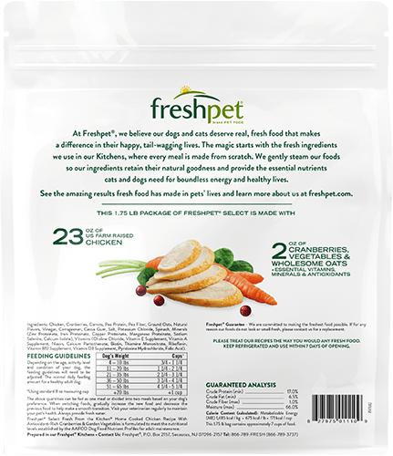 Freshpet Select Home Cooked Chicken dog food back of package