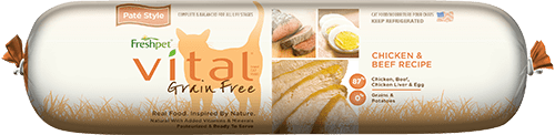 roll of vital grain free chicken and beef cat food