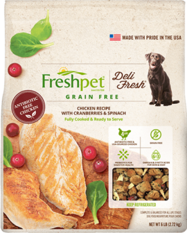 Gain Free chicken, cranberries, and spinach dog food front of package