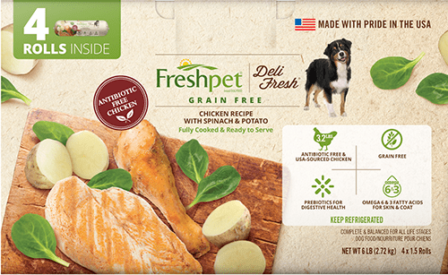 Freshpet Deli Fresh grain free chicken with spinach and potato dog food front of package