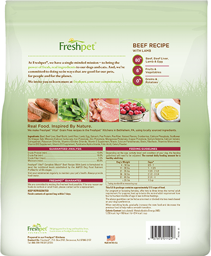 freshpet vital grain free beef recipe dog food back of package