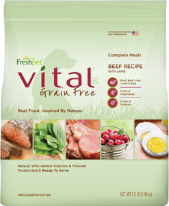 freshpet vital grain free beef recipe dog food front of package