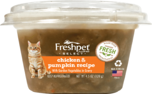 front of freshpet select chicken and pumpkin cat food bowl
