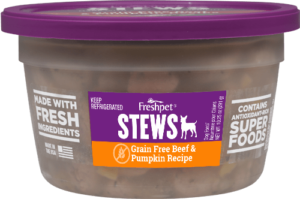 Freshpet Select grain free beef and pumpkin dog stew front of container