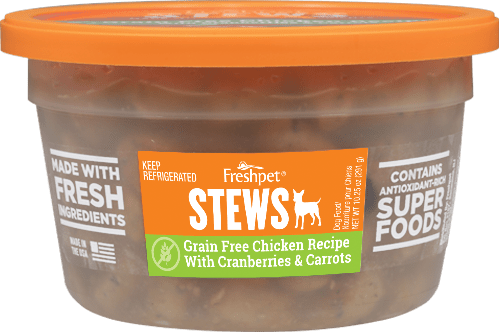 dog stew grain free chicken recipe with cranberries and carrots front of container