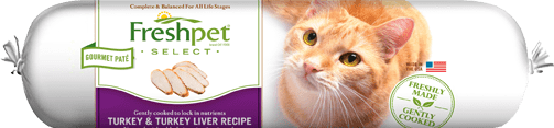roll of fresphet select turkey and turkey liver cat food