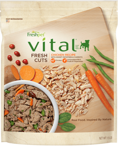 freshpet vital fresh cuts chicken dog food package