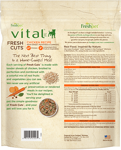 back of vital fresh cuts chicken dog food package