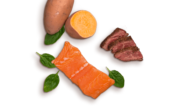 sweet potato, salmon, beef, spinach