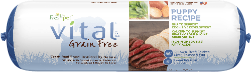 vital grain free chicken, beef, salmon roll puppy food