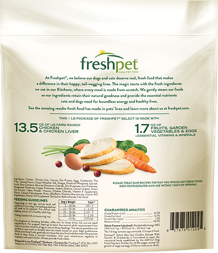 back of freshpet select tender chicken recipe for small dogs package