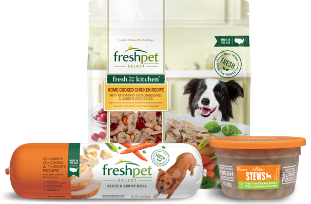 collage of Freshpet Select home cooked chicken dog food in package, Freshpet Select chunky chicken