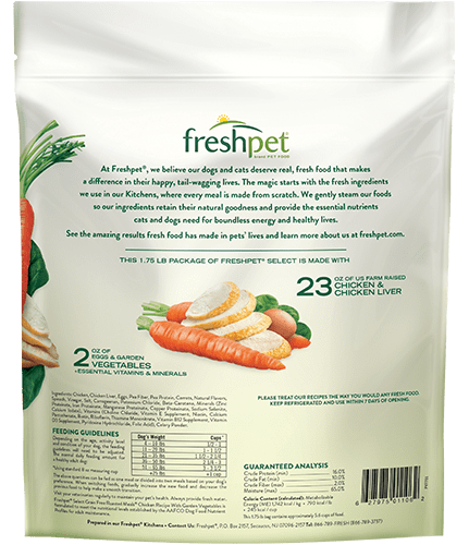 back of freshpet roasted meals grain free tender chicken with crispcarrots and leafy spinach