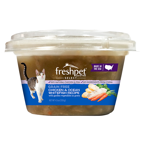 Freshpet® Select Grain Free Chicken & Ocean Whitefish Recipe with Garden Vegetables in Gravy for Cats food - Freshpet